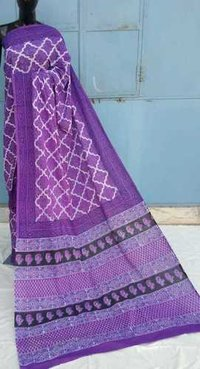 Desiger Ajrakh printed cotton Saree