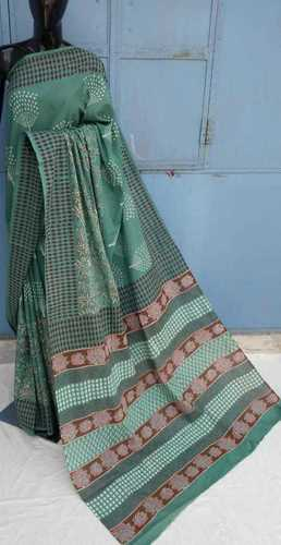 Designer Hand Block Printed Cotton Saree