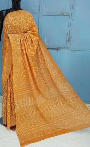 Designer Hand Block Printed Yellow Cotton Saree