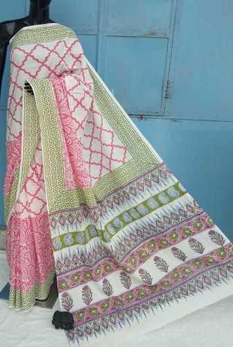 Exclusive Hand Block Printed Cotton Saree