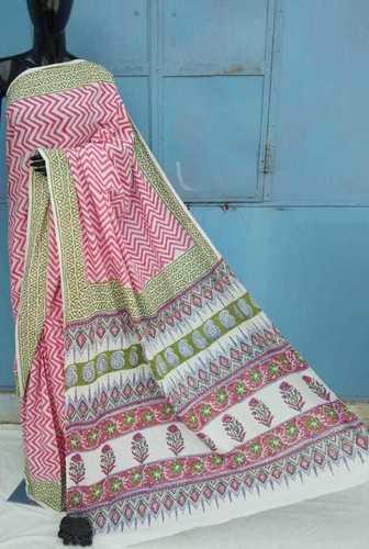 hand block Ladies Printed Cotton Saree