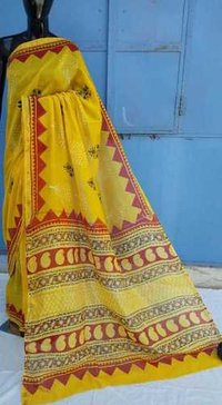 Hand Block Printed Cahnderi saree