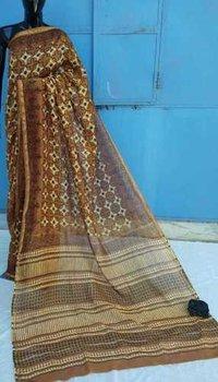 Hand Block Printed Ladies Cahnderi saree