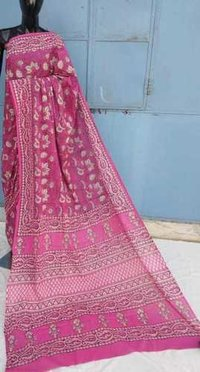 Hand Block Printed Pink Cotton Saree