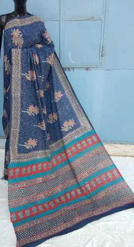 Nevy Blue Ajrakh prined Chanderi saree