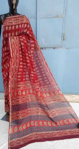 Pink Ajrakh Printed chanderi saree