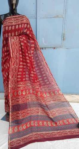 Pink Ajrakh Printed chanderi saree
