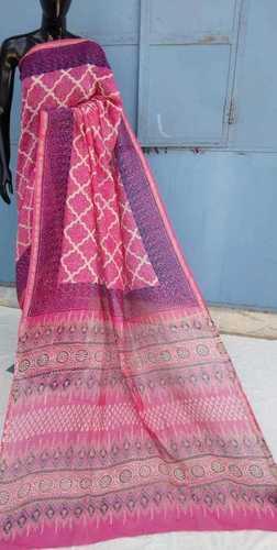Pink Hand Block Printed Cahnderi saree