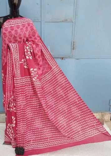 Pink Hand Block Printed Cotton Saree