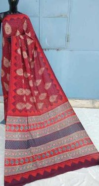 Red Ajrakh printed cotton Saree