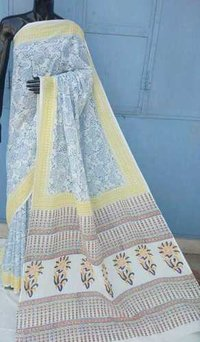 Treditional Hand Block Printed Cotton Saree