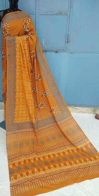 Treditional Hand Block Printed Yellow Cotton Saree