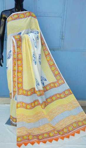 Yellow Ladies Block Print Saree