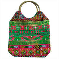 Embroidery Cane Handle Ladies Shopping Bag