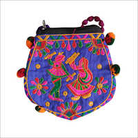 Handicraft embroidery Raja Rani Sling Bag with Pom Pom Dori