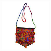 Embroidery Sling Bag with multi pom pom dori
