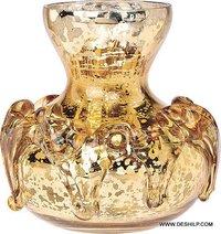 Antique Shape Glass Flower Vase Silver Made