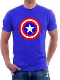 Mens Printed Round Neck Blue T-Shirt