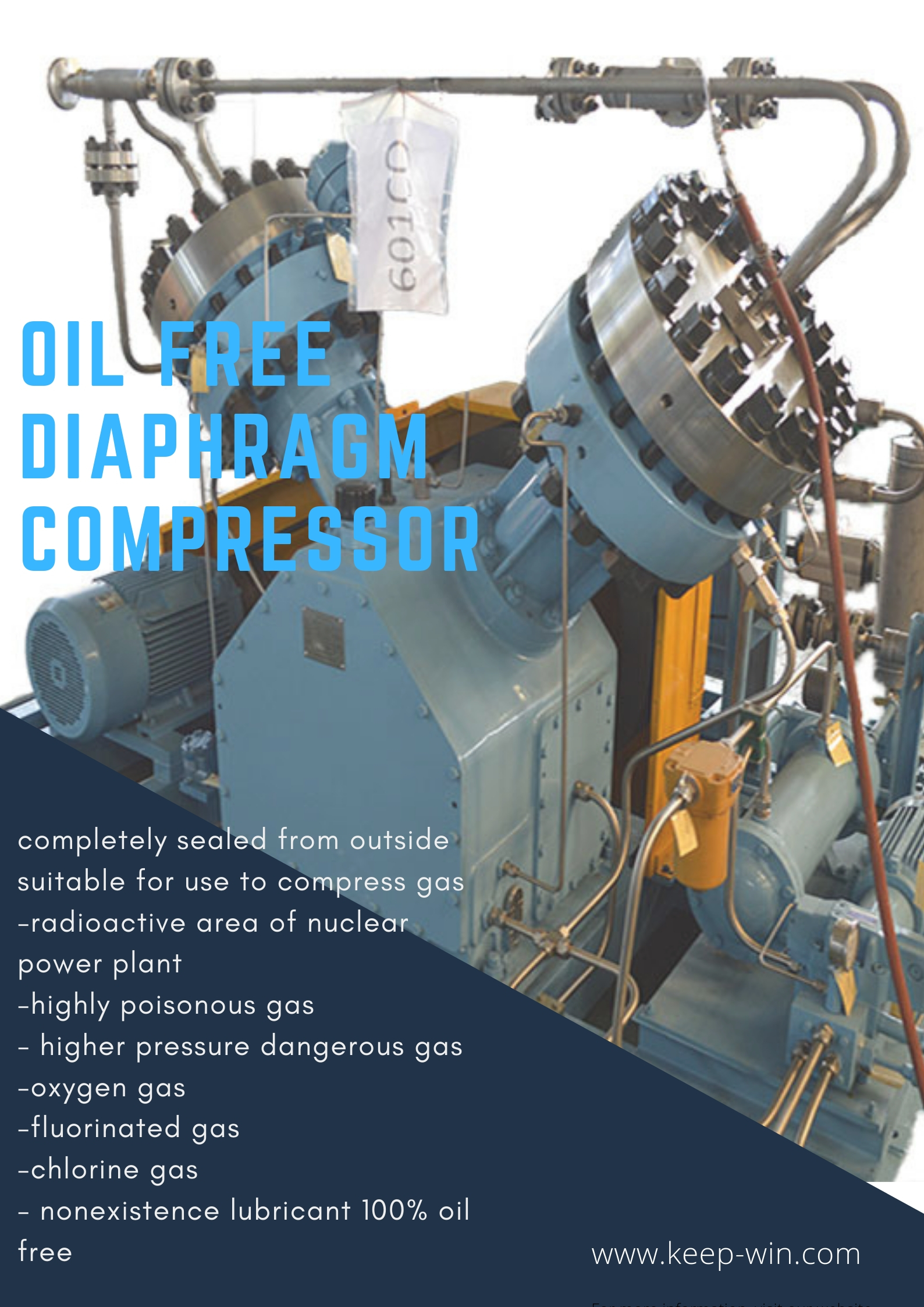 High purity Oil Free Diaphragm Compressor