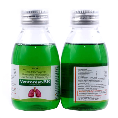 100ml Terbutaline Sulphate Bromhexine Hydrochloride Guaphenesin And Menthol Syrup