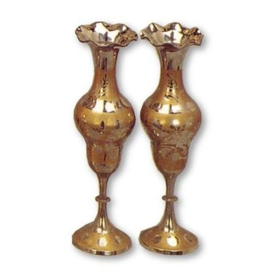 Pair Shiny Brass Long Vase