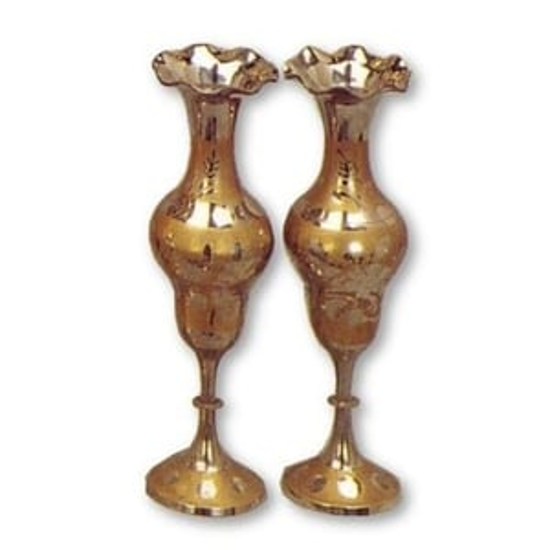 Pair Shiny Brass Long Vase