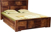 Fn Drawer Sheesham Solid Wood Queen Drawer Bed