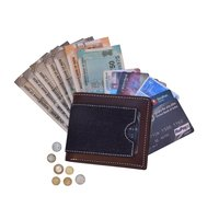 Mens Bi Fold Leather And Denim Wallet