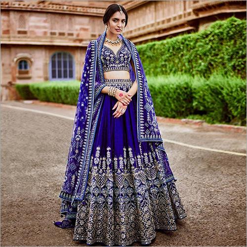Ladies Embroidered Bridal Net Lehenga Choli
