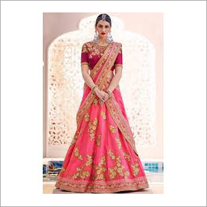 Bridal Wear Lehenga, Peach Color
