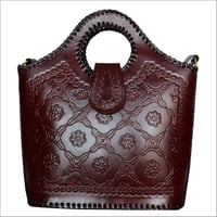 Ladies Leather Engraved Tote Hand Bag