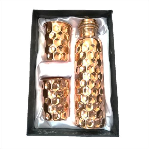 Diamond Shape Copper Bottle Gift Set