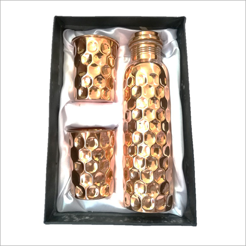 Diamond Shape Copper Bottle Gift Set