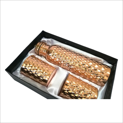Rhombus Shape Copper Bottle Gift Set
