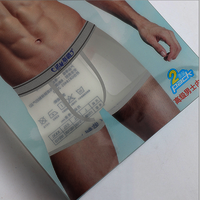 wholesale transparent pvc men's underwear plastic packaging box