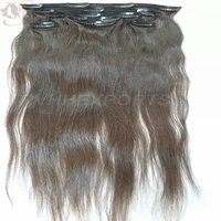 100 Human Hair Extension Strong Clip In Hair Extensions Silky Straight Black Color