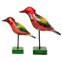 Indian Handmade Colorful Wooden Painted 2 Bird Set