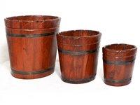Home Decorative Gift Purpose Wooden Oval Shape Designer Flower Pot Planters