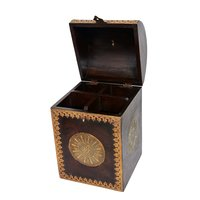 Home Decorative Brass Fitted Wooden Wine Bottle Designer Box