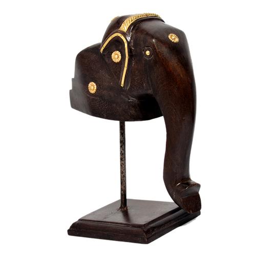 Decorative Craft Brass Fitted Wooden Elephant Mukhota Statue