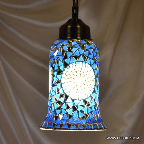 Blue Mosaic Glass Wall Hanging Lamp