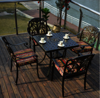 4+1 cast aluminum patio table and chair sets with cushions