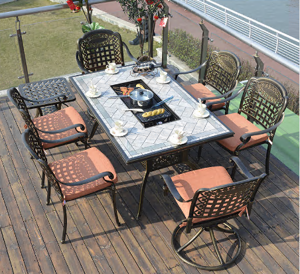 8+1 cast aluminum frame barbecue paito table and chair sets