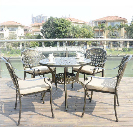 2019 4+1 cast aluminum frame paito table and chairs set