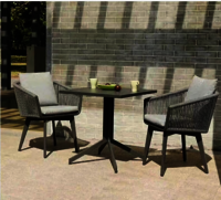 Outdoor aluminum table with rope chairs furniture supplier