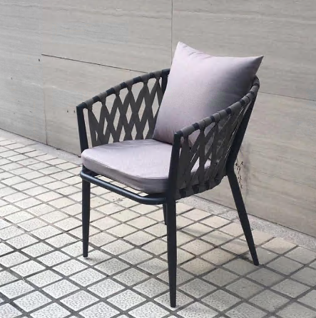 Outdoor paito black aluminum frame rope chair with cushions