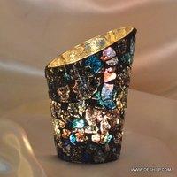 Antique Mosaic Finish Candle Holder