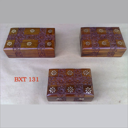 Sheesham Wood Jewellery & Utility Box Set 3pcs