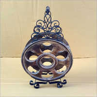 Mango Wood & wrought Iron Wine Or Whiskey Stand
