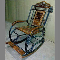 Mango Wood & Roat Iron Rocking Chair